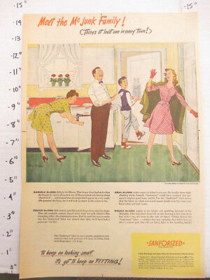 newspaper ad 1945 American Weekly SANFORIZED clothing process McJunk family