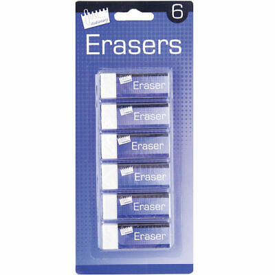 Pack of 6 Quality Soft White Erasers- Rubber in Blister Pack - Stationery School