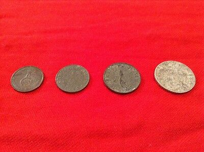 German WW2 Coin Set: 1, 5, 10 & 50 Pfennig Reichspfennig, Eagle w Swastika