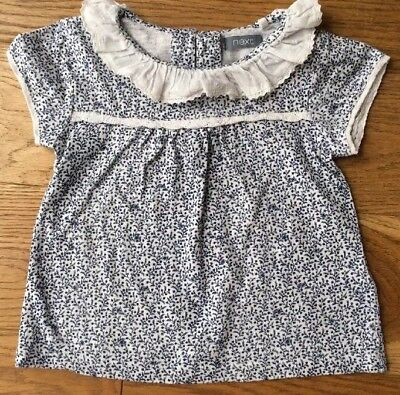 ☆ Next Baby Girls Floral Flower Short Sleeve Top T-Shirt 9-12 M ☆