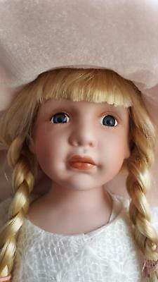 "Large 22"" Handmade Porcelain Doll Beautiful Child-Like Face - Lots Fancy Clothes"
