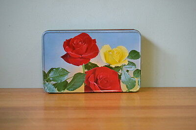 Vintage metal tin flowers Hoadleys chocolate biscuit tin display storage pt2/...