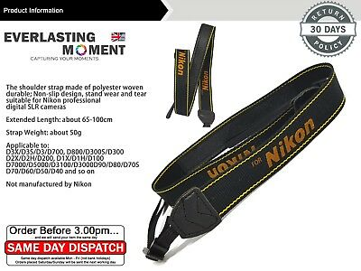 Shoulder Neck Sling Strap Belt for Nikon Camera Dslr D7100 D70s D90 Black Yellow