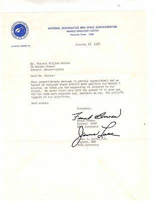 Borman And Lovell Jr. Typed Signed Letter,january 1966,nasa,re: Gemini 7 Mission