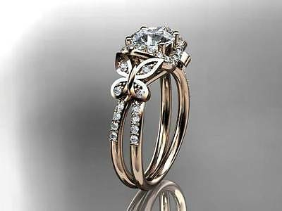 1.50ct Round-Cut Diamond Solitaire Butterfly Engagement Ring 14k Rose Gold Over
