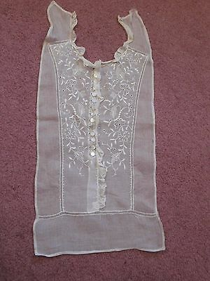 True Vintage Dickie/Dicky Blouse Front w/14 MOP Buttons & Lace Trim~Ivory