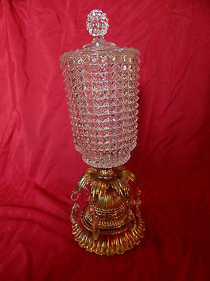 1970 L&l Wmc Lidded Glass & Brass Pedestal Compote Centerpiece W/teardrop Prisms