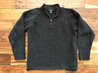 VTG Patagonia Lambswool Pullover 1/4 Zip Sweater Grey Ribbed Sz L XL 90's