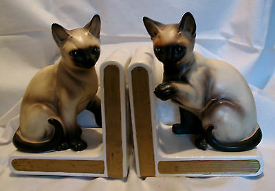 "Vintage Pair Siamese Cat Bookends China Lefton Paper Labels 6.25"" Tall 1 Chip"