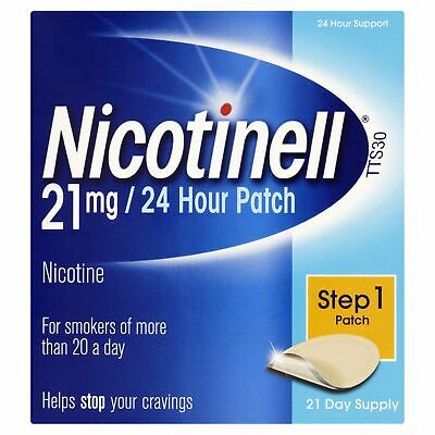 SALE! Nicotinell Nicotine 21 mg 24-Hour Patch 21 Days Supply.