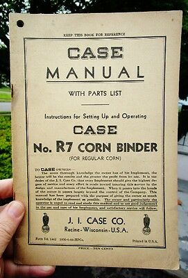 1944 Vintage Agriculture: Case, Racine, Wisconsin R7 Corn Binder Manual + Parts