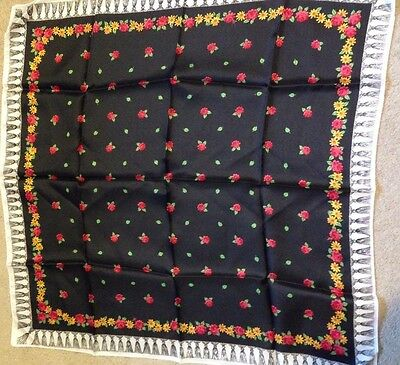 """Vintage 1960's New Scarf Black Red Yellow Roses Daisies 26""""x26"""""""