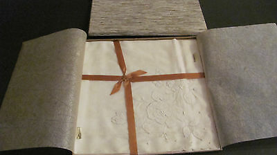 2 Vintage White Embroidered Appliqued Swiss Cotton Bride's Hankies New in Box