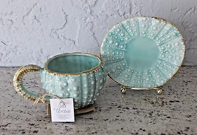 New With Tag Blue Sky Turquoise Sea Beach Urchin Tea Cup And Saucer Set