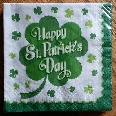"""20 ct Paper Party Lunch Napkins 13"""" ~ Happy St Patrick's Day Shamrocks Green"""