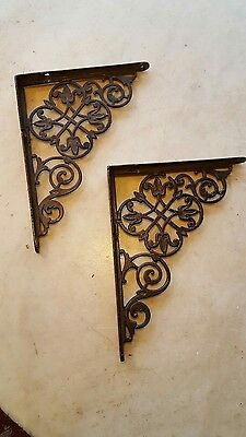 "Antique Circa 1900 Cast Iron Victorian Shelf Brackets 6"" X 8"""