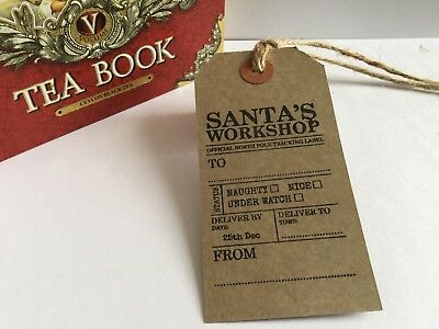 10 Santa's Workshop Christmas Gift Tags brown Handmade Scented