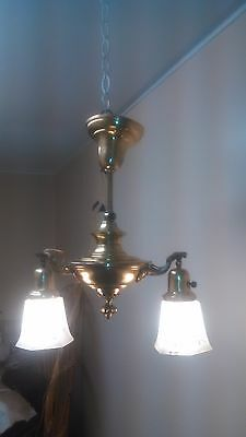 Vintage Two Light Ornate Design Brass Pan Fixture Older Restoration Lattice Glas