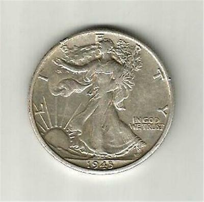 1943-S  Silver Walking Liberty Half Dollar, In Ef To Au Condition. Take A Look.