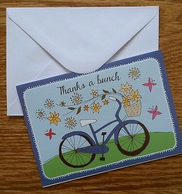 Set of 8 Blank Greeting Note Cards ~ Thank You Cards Thanks A Bunch Bike Flowers