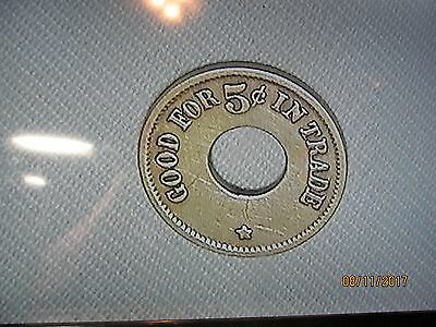 """Vintage """"Good For .05 Cents In Trade"""" Cigar Store Token"""
