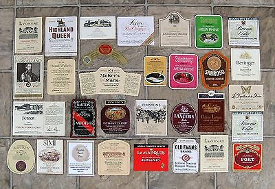 Wine Liquor and Champagne Bottle Label Collection, 31 Labels, Great Party Fun