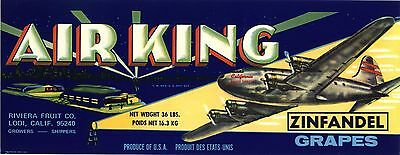 Crate Label Vintage Grape California Air King Aviation Airplane Bomber C1960S