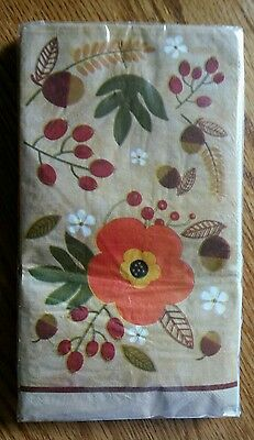 14 ct Fall Flowers Leaves Acorns 2 ply Paper Dinner Napkins Guest Towels