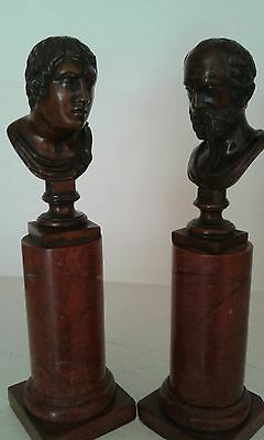Pair Of Italian  Grand  Tour  Bronze Busts Of Emperors On Red Marble Pedestal