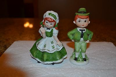 Vintage Lefton - Irish Girl / Boy / Couple Figurines - St. Patrick's Day - Japan