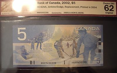 Canada BC-62bA 2004 $5 Replacement HNR9450390 - BCS ChUnc 62