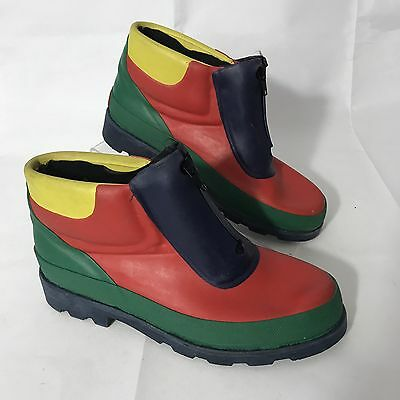 WANTED Vtg Woman's Red Blue Green Zip Rain Boots Shoe Water Proof Sz 7