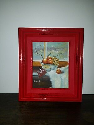 Vintage South West oil painting on board signed by artist 8x10 red framed