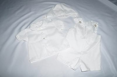 ALEXIS 9 month old boys CHRISTENING outfit white hat romper blouse shirt