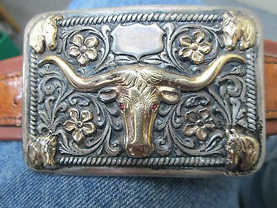 ED BOHLIN HOLLYWOOD 14K GOLD & STERLING SILVER RUBY EYES WESTERN Belt & Buckle