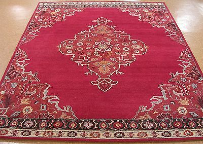 8 X 10 Pottery Barn Bryson Red Persian Style New Hand Tufted Wool Rug