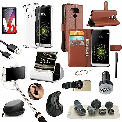 Coffee Leather Case Cover Bluetooth Headset Monopod Fish Eye Accessory For LG G6