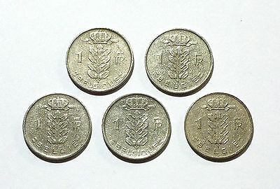 Belgium 1 Franc coins from 1955, 1957, 1958, 1959, 1961