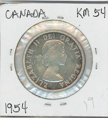1954 Canadian Silver Dollar ,canoe Rev., Km#54 Nice Coin, $8 Shipping To Canada