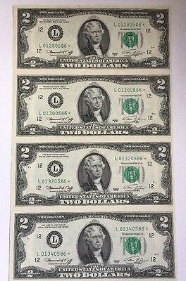 Uncut Sheet Of 4 Notes $2 1976 Federal Reserve *star* Notes