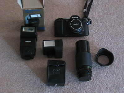 Konica FS-1 Camera, Lens, X-24 Flash, Promaster 5200 Flash, & 200mm Telephoto