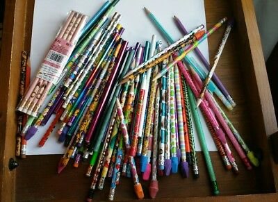 Lot 89 Pretty Pencils New/Vintage Metallic Hello Kitty Colors Pink Shoes Designs