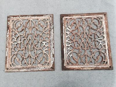 "Two Antique Ornate Cast Iron Heat Register Grate Wall Floor Vent Covers 12""x10"""