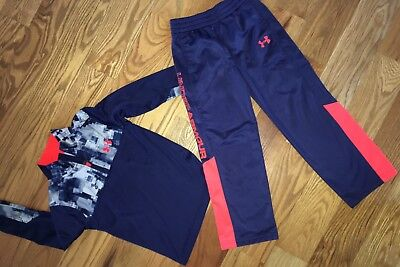 Under Armour Boys Youth Long Sleeve 1/4 Pullover Shirt/Pants, Navy Blue, Size 5.