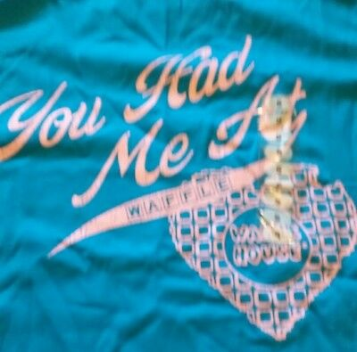 Waffle House Ladies T-Shirt~You Had Me At Waffle~S~Small~NEW~NWOT~Blue/Pink