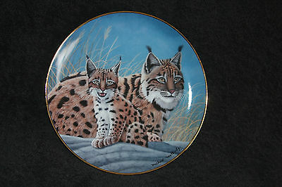 National Wildlife Federation Collector Plate Lynx & Cub Fine Porcelain Limited