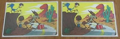 Vintage Roadrunner & Wile E. Coyote Place Mats, Set Of 2. Plus 1 Extra