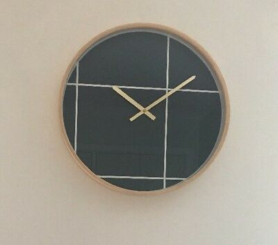Large Wall Clock,  Beech Wooden Frame, 49cm, New In Box, Kitchen / Living Room