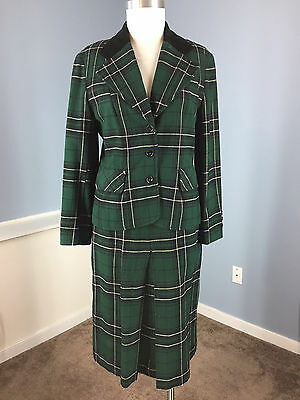 Dorothy Bullitt Green Plaid Skirt Suit Vintage Wool S Career