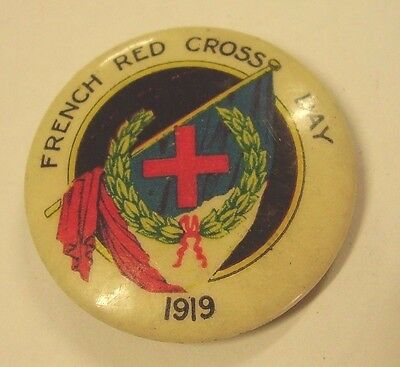 WW1 French Red Cross Appeal Day 1919 Button Badge Flags